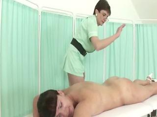 aged british femdom nurse massages her patient