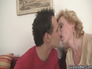 blonde granny jumps on young knob