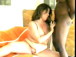 big beautiful woman brunette gets a large black
