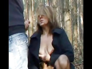 cumshot on immodest mature outdoor by troc