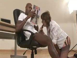 aged stocking bitch interracial oral sex facial