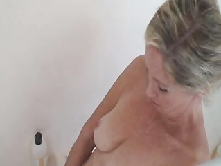 charming granny has a shower