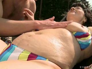 unattractive granny fucking with youthful guy by