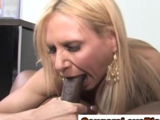 mature interracial bitch acquires a cumshot