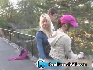 nice-looking french gfs on a sexy threeway