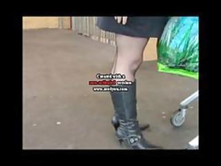 dark seamed stockings boots and a mini petticoat