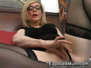 blond mum in glasses licking hard part0