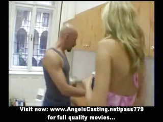 amateur lovely blond bride sweet talking and