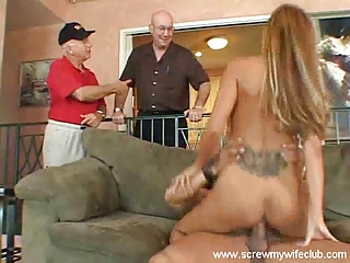 hubby enjoyed watching busty wife fucked hard