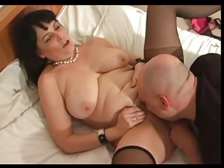 chubby older in nylons fucks with hairless stud