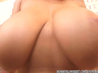 breasty milf alia janine tit fucks a load out cock