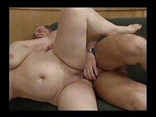 two horny bulky grannies with a stud