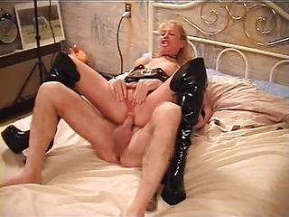 hawt older golden-haired group-fucked in boots