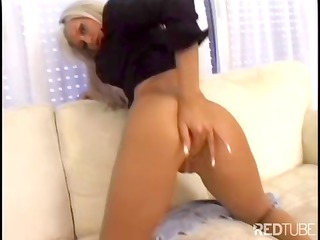petite golden-haired milf beauty does a hot dance