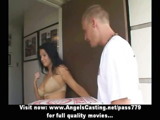 sexy latina mother i does blow job for pizza lad