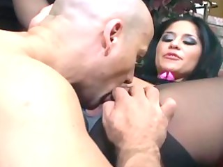 breasty brunette fucking in dark crotchless
