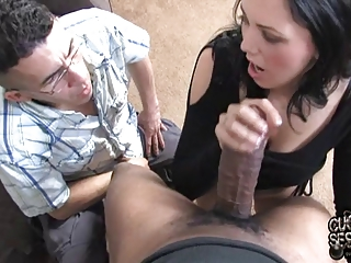 white wife takes giant darksome knob in front of