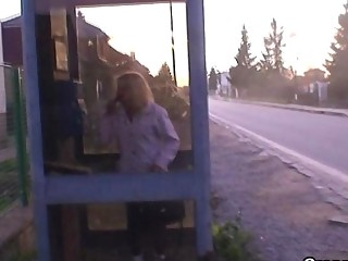 boy picks up blonde granny and bangs her