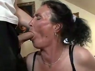 breasty brunette hair granny acquires nasty