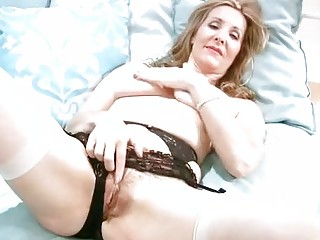 horny mature in underware finger masturbation