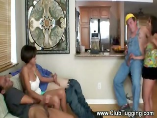 two excited milfs polishing multipe slongs and