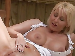 nasty blonde momma with big bosom in white suit