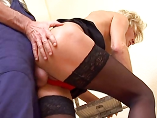 skinny golden-haired aged in nylons copulates the