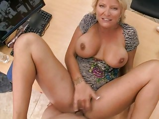 lustful amateur golden-haired milf swallows