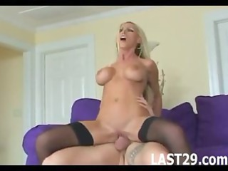 busty blond drilled in nylons