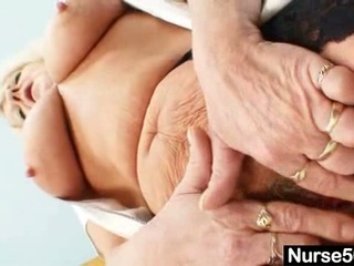 grandma in uniform spreads golden-haired hairy