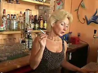 aged barmaid smoking fetish