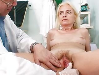 skinny hirsute granny woman doctor treatment