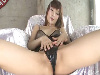 riona suzune is oiled up whilst she plays with