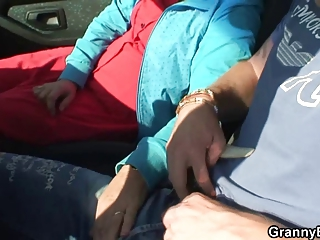 granny bitch is nailed in the car by a stranger