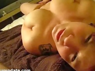 breasty wife masturbates and receives facialized