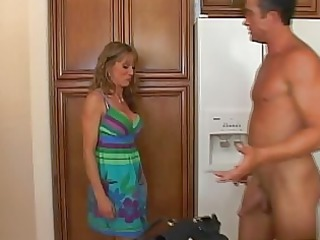 adorable golden-haired milf with large boobs