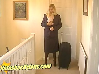 hose flight attendant in high heels