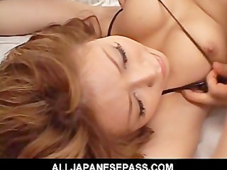 fit japanese cougar fucks in a diminutive bikini