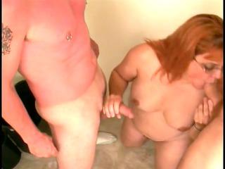 skanky older broad sucks youthful boy-friends