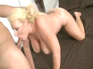 older golden-haired whore sucking pounder