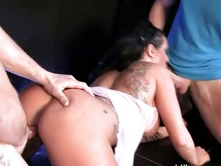 darksome haired milf with giant melons sucks hard