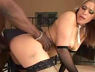 badass milf in stockings gets an interracial
