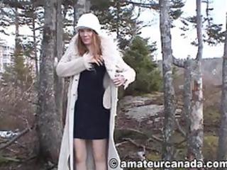 milfy housewife s garb outside public nudkty