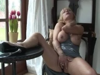 uk older pornstar jane bond gets off in her study