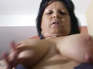 large breasted grandma graciela receives herself