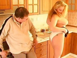 breasty non-professional wife oral job titjob and