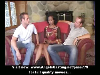 innocent afro bride in three-some does blow job