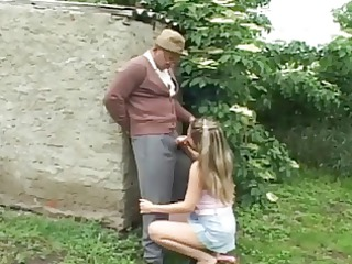 naughty old fellow having outdoor sex with horny