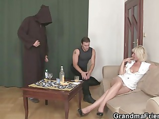 lonely granny swallows cocks
