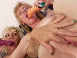 blonde milfs giving a kiss licking and dildo